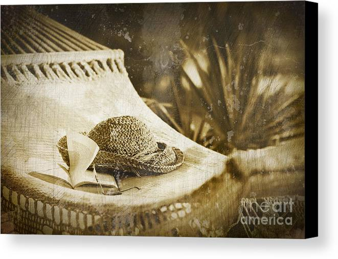 Garden Canvas Print featuring the photograph Grunge Photo Of Hammock And Book by Sandra Cunningham