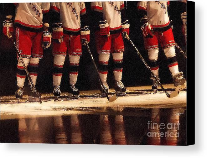 Hockey Canvas Print featuring the photograph Hockey Reflection by Karol Livote