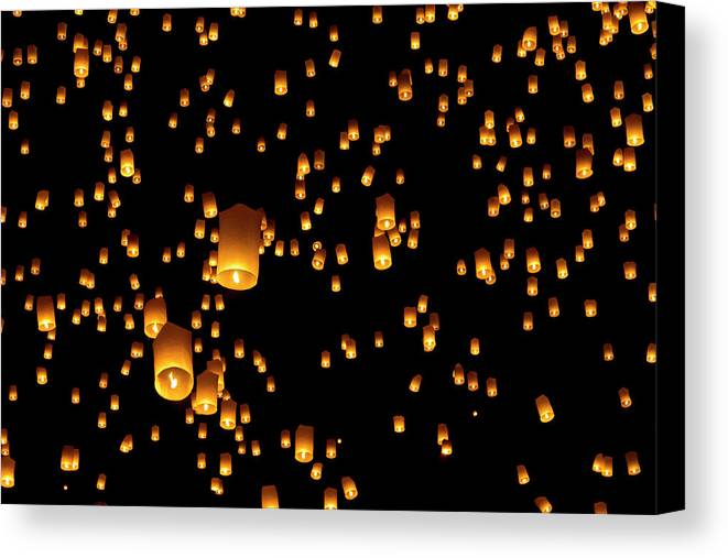 Horizontal Canvas Print featuring the photograph Hot Air Lanterns In Sky by Daniel Osterkamp