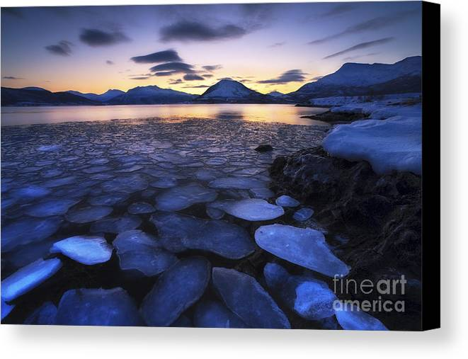 Ocean Canvas Print featuring the photograph Ice Flakes Drifting Against The Sunset by Arild Heitmann