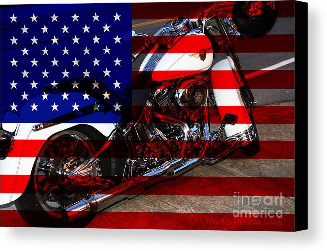 Wingsdomain Canvas Print featuring the photograph Made In The Usa . Harley-davidson . 7d12757 by Wingsdomain Art and Photography