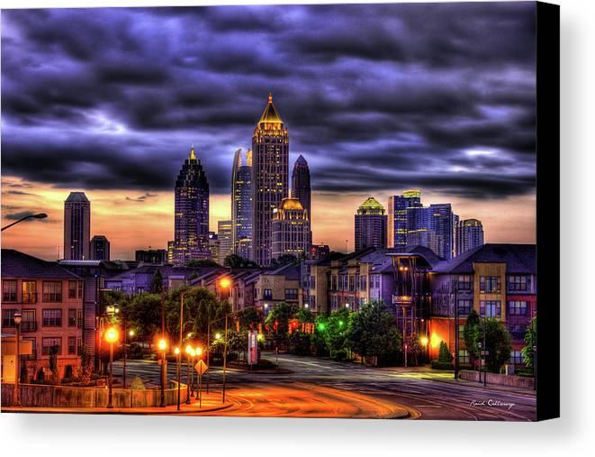 Reid Callaway Midtown Atlanta Art Canvas Print featuring the photograph Midtown Atlanta Towers Over Atlantic Commons by Reid Callaway