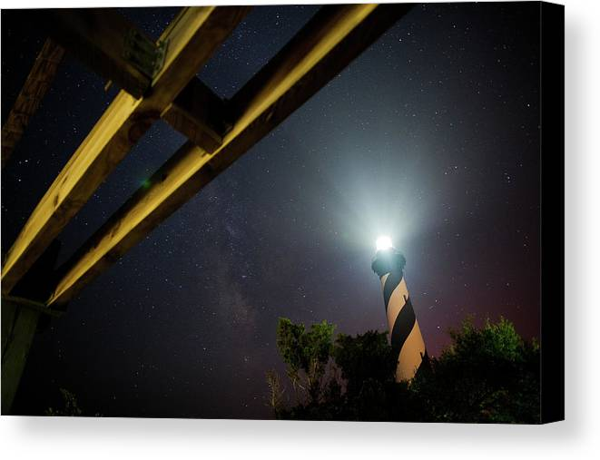 Hatteras Canvas Print featuring the photograph Milky Way Inside Hatteras Light Pavillon by Daniel Lowe