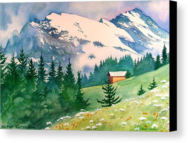 Murren Canvas Print featuring the painting Murren Switzerland by Scott Nelson