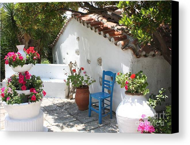 Greece Canvas Print featuring the photograph My Greek Garden by Yvonne Ayoub