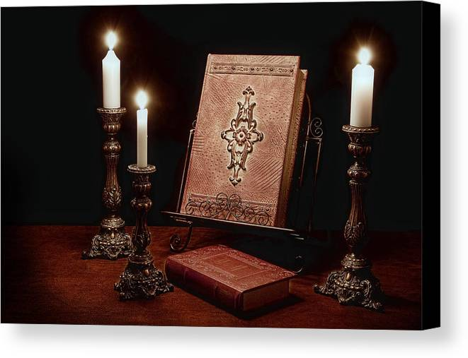 Book Canvas Print featuring the photograph Old Tome Still Life IIi by Tom Mc Nemar