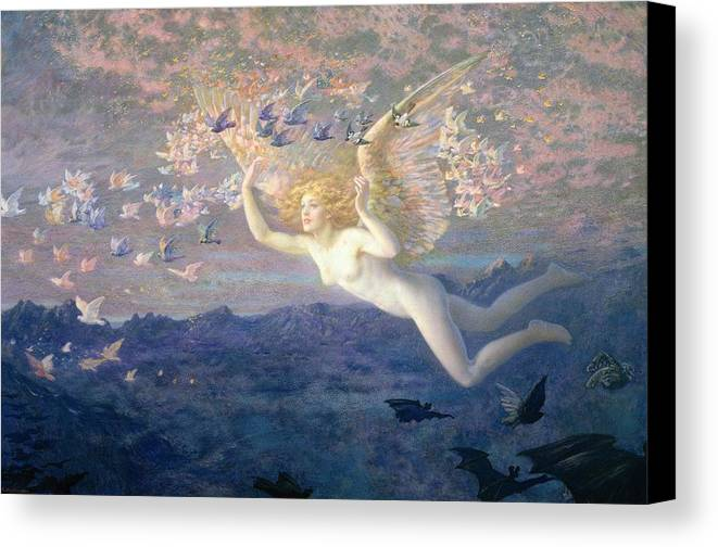 Nude Canvas Print featuring the painting On The Wings Of The Morning by Edward Robert Hughes