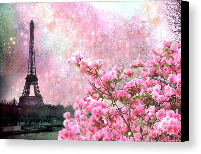 Paris eiffel tower cherry blossoms paris spring eiffel for Canvas painting of cherry blossoms