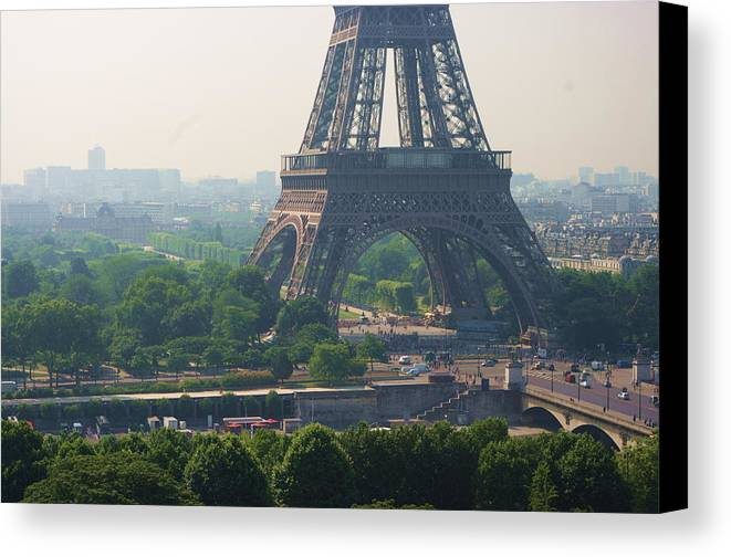 Horizontal Canvas Print featuring the photograph Paris Tour Eiffel 301 Pollution, Pollution by Pascal POGGI
