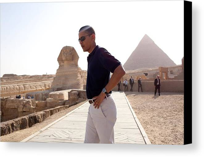 History Canvas Print featuring the photograph President Obama Tours The Egypts Great by Everett