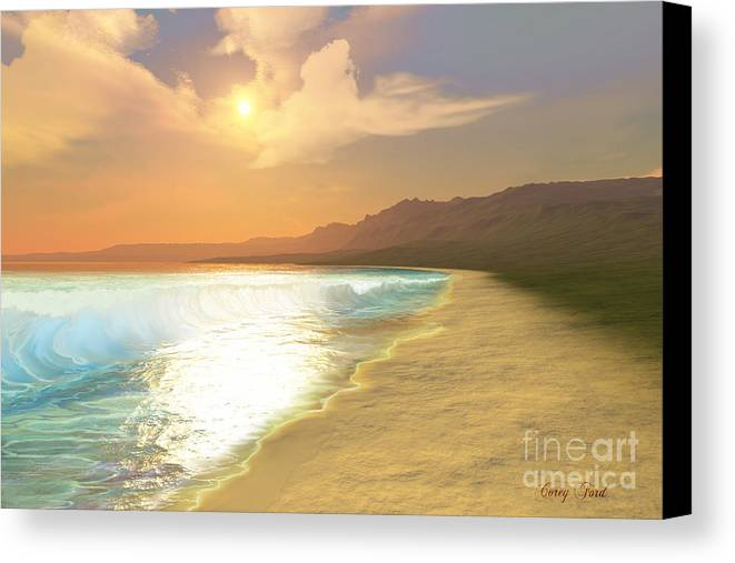 Sunset Canvas Print featuring the painting Quiet Places by Corey Ford