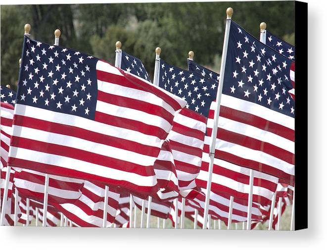 Flag Canvas Print featuring the photograph Red White And Blue by Jerry McElroy