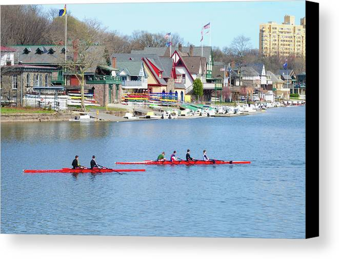Rowers Canvas Print featuring the photograph Rowing Along The Schuylkill River by Bill Cannon