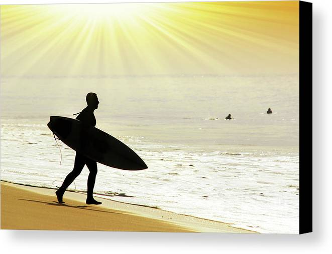 Action Canvas Print featuring the photograph Rushing Surfer by Carlos Caetano