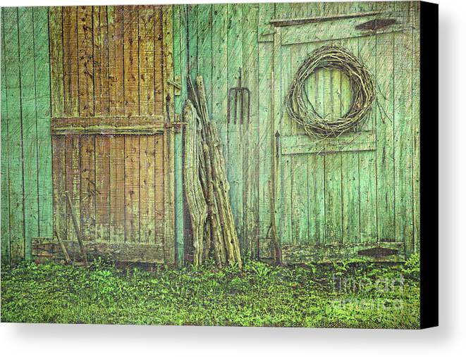 Barn Canvas Print featuring the photograph Rustic Barn Doors With Grunge Texture by Sandra Cunningham