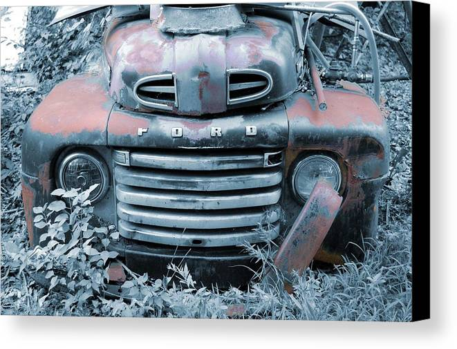 Old Canvas Print featuring the photograph Rusty Blue Ford by Jame Hayes