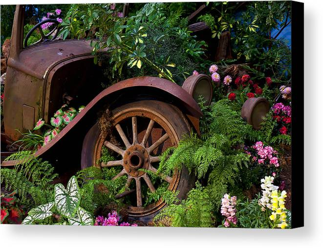 Rusty Truck Canvas Print featuring the photograph Rusty Truck In The Garden by Garry Gay