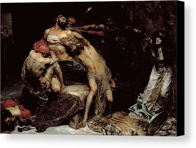 Bound; Philistines; Philistine; Delilah; Rope; Cutting Hair; Strength; Struggle; Dramatic; Dalila; Samson Canvas Print featuring the painting Samson by Solomon Joseph Solomon