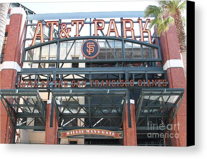 Sport Canvas Print featuring the photograph San Francisco Giants Att Park Willie Mays Entrance . 7d7635 by Wingsdomain Art and Photography