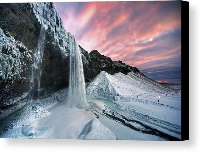 Horizontal Canvas Print featuring the photograph Seljalandsfoss Sunset by Traumlichtfabrik