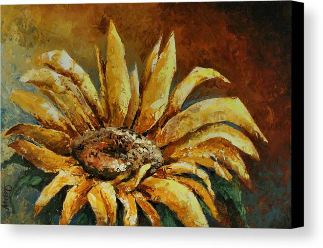 Floral Canvas Print featuring the painting Sunflower Study by Michael Lang