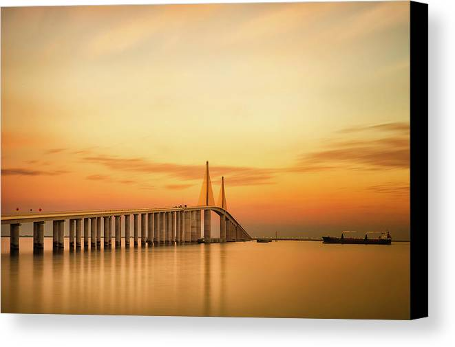 Horizontal Canvas Print featuring the photograph Sunshine Skyway Bridge by G Vargas