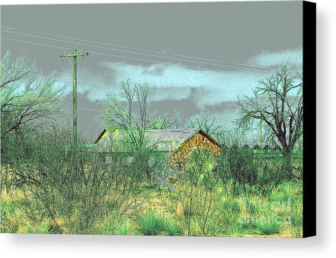 Landscape Canvas Print featuring the photograph Texas Farm House - Digital Painting by Merton Allen