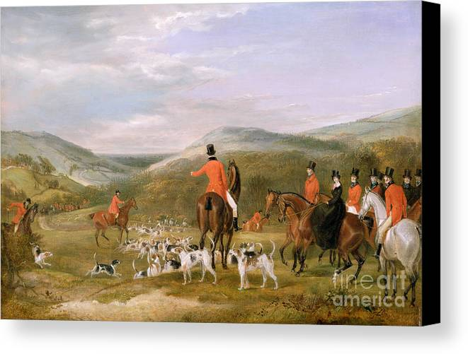 The Canvas Print featuring the painting The Berkeley Hunt by Francis Calcraft Turner