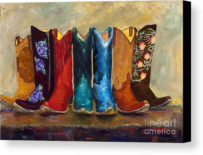 Cowboy Boots Canvas Print featuring the painting The Girls Are Back In Town by Frances Marino