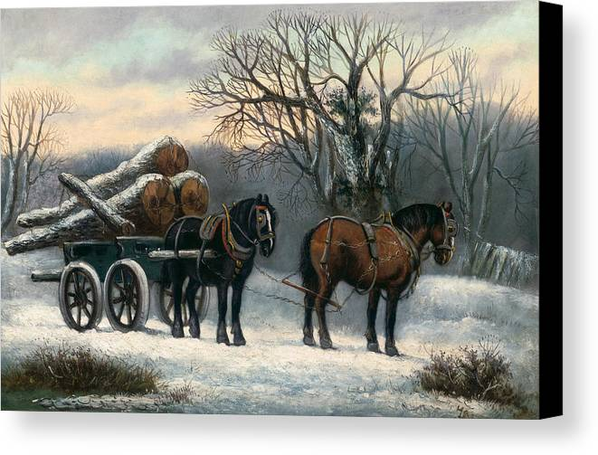 The Canvas Print featuring the painting The Timber Wagon In Winter by Anonymous