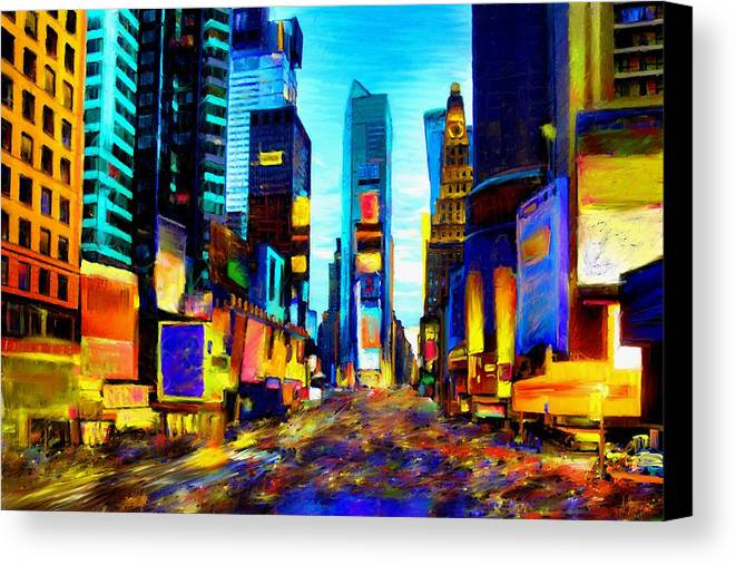 Manhatten Canvas Print featuring the painting Times Square by Andrea Meyer
