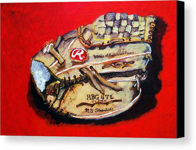 Baseball Canvas Print featuring the painting Tim's Glove by Jame Hayes