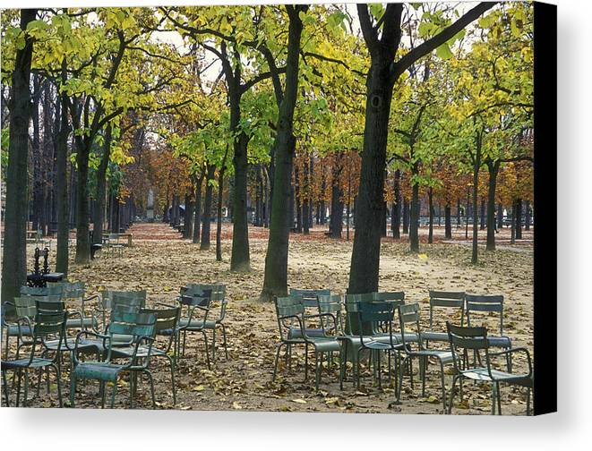 Outdoors Canvas Print featuring the photograph Trees And Empty Chairs In Autumn by Stephen Sharnoff