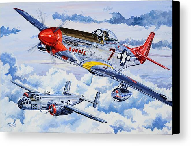 P-51 Mustang Canvas Print featuring the painting Tuskegee Airman by Charles Taylor