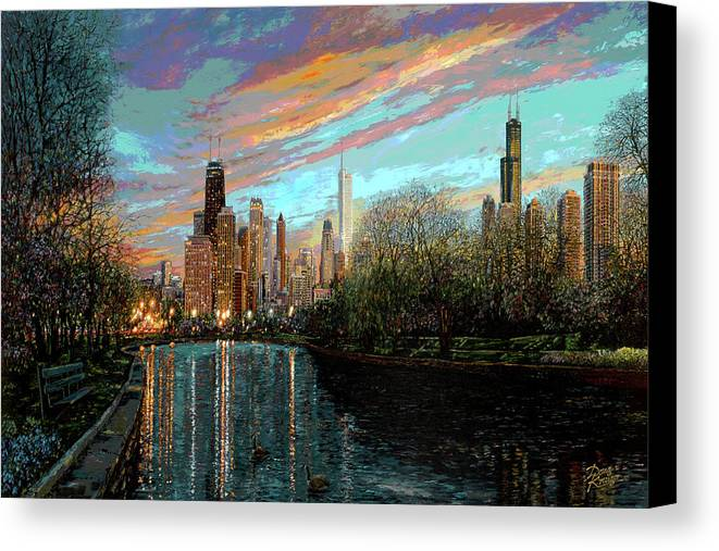 City Canvas Print featuring the painting Twilight Serenity II by Doug Kreuger