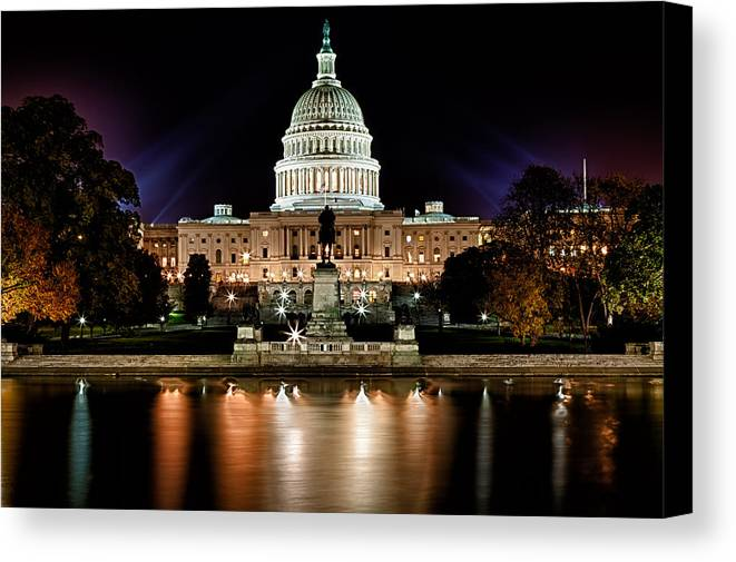Washington Canvas Print featuring the photograph Us Capitol Building And Reflecting Pool At Fall Night 3 by Val Black Russian Tourchin