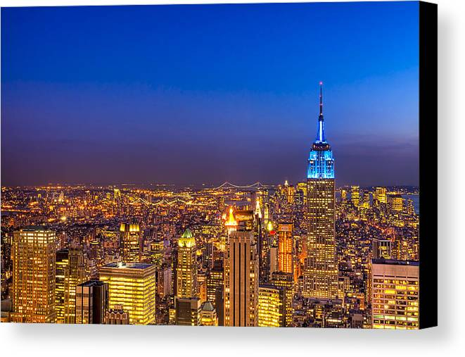 New York Canvas Print featuring the photograph View From The Top - Nyc Skyline by Mark E Tisdale
