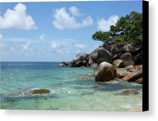 Horizontal Canvas Print featuring the photograph View Of The Sea And A Rocky Coastline by Caspar Benson