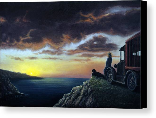 Ocean Canvas Print featuring the painting Viewing The Bay by Lance Anderson