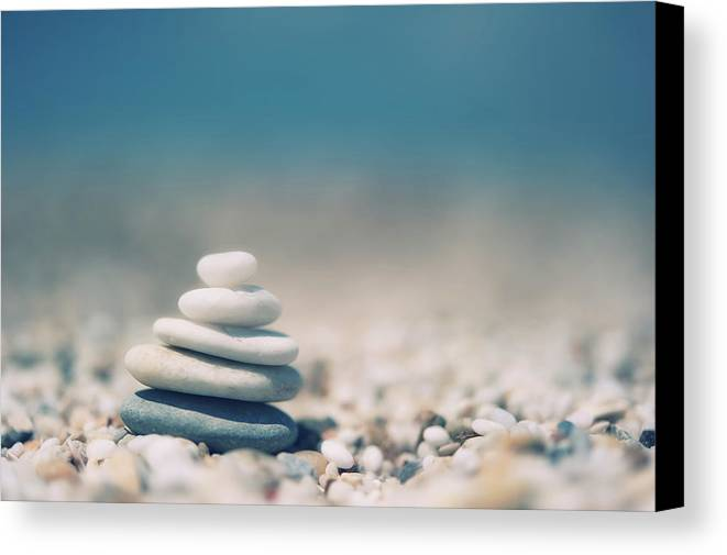 Horizontal Canvas Print featuring the photograph Zen Balanced Pebbles At Beach by Alexandre Fundone