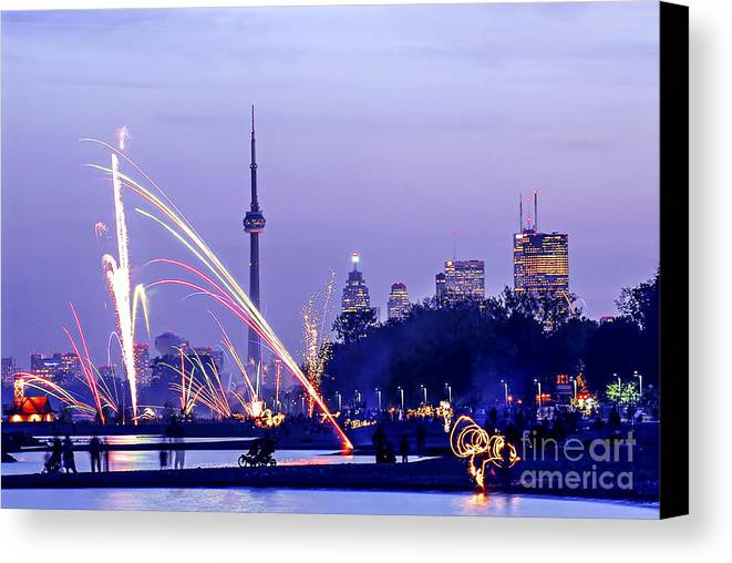 Toronto Canvas Print featuring the photograph Toronto Fireworks by Elena Elisseeva