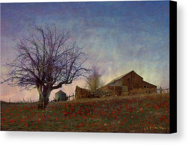 Barn Canvas Print featuring the painting Barn On The Hill - Big Sky by R christopher Vest
