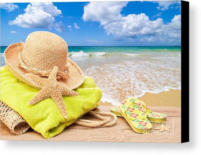 Summer Canvas Print featuring the photograph Beach Bag With Sun Hat by Amanda And Christopher Elwell