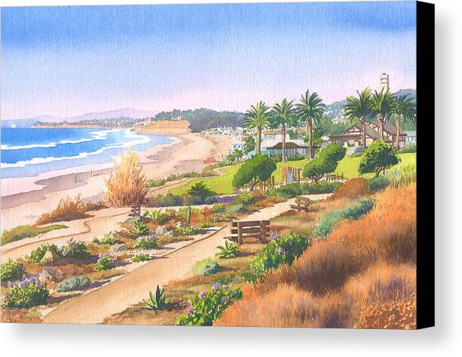 Cactus Canvas Print featuring the painting Cactus Garden At Powerhouse Beach by Mary Helmreich