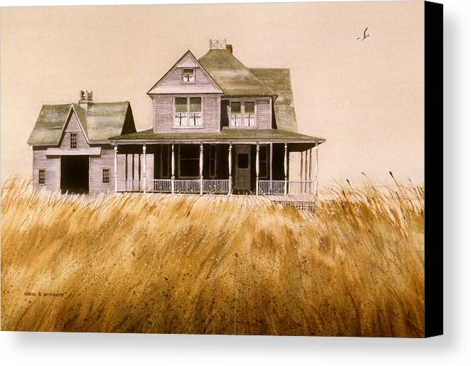 Seagull Canvas Print featuring the painting Chatham Derelict by Karol Wyckoff