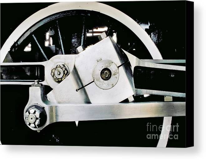 Coupling Rod Canvas Print featuring the photograph Coupling Rod And Driver Wheels For A Steam Locomotive by Wernher Krutein