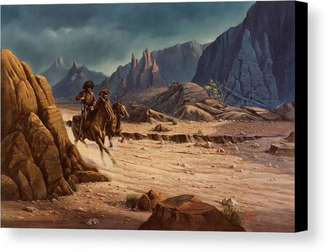 Michael Humphries Canvas Print featuring the painting Crossing The Border by Michael Humphries