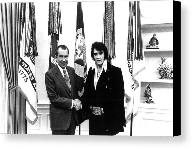 Elvis Canvas Print featuring the photograph Elvis Presley And President Nixon by Retro Images Archive