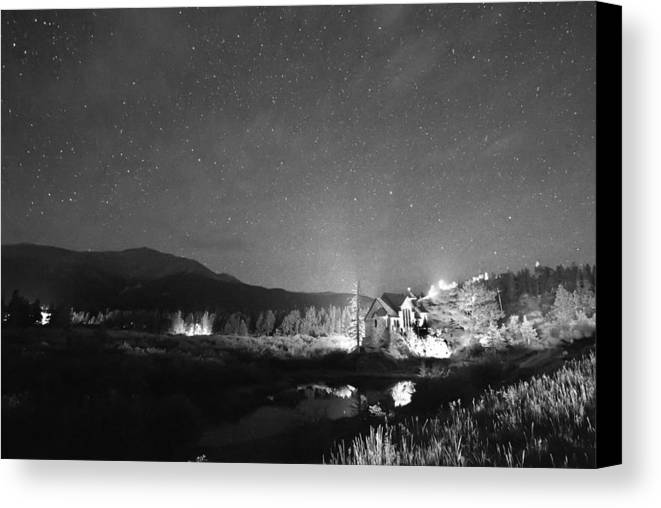 Chapel On The Rock Canvas Print featuring the photograph Forest Of Stars Above The Chapel On The Rock Bw by James BO Insogna