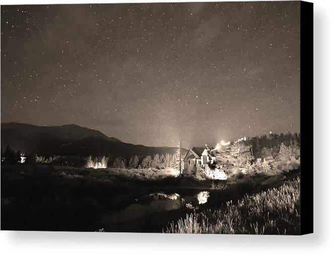 Chapel On The Rock Canvas Print featuring the photograph Forest Of Stars Above The Chapel On The Rock Sepia by James BO Insogna